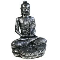 Buddha stone cast with t-lite holder, silver colour 32cm
