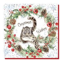 Christmas card, Snow leopard wishes
