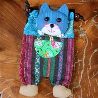 Shoulder purse, fabric, cat assorted colours 13 x 23cm