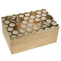 Jewellery/trinket box, mango wood honeycomb design 15x10x7cm
