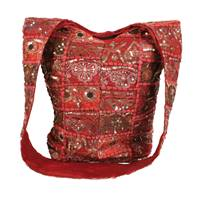 Cross body bag recycled sari red