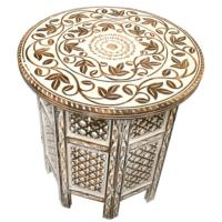 Coffee table mango wood round, white