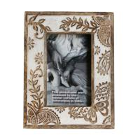 Photo frame, wood butterfly and leaf, 4x6inch photo