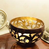 Coconut bowl gold colour lacquer inner 15x9cm