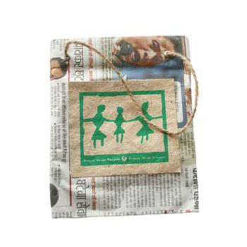 Gift bag recycled newspaper 10 x 15cm height