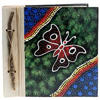 Notebook Aboriginal design butterfly, 20x20cm
