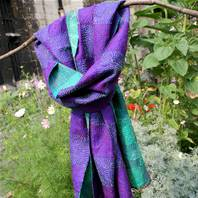 Scarf, recycled silk, kantha stitch, square pattern, assorted, 190x45cm
