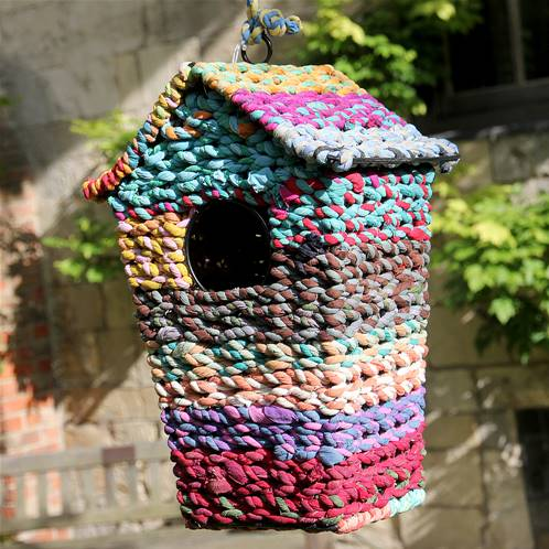 Bird house, recycled fabric, 19x16x28cm