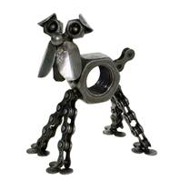 Dog, recycled bike chain and metal nut