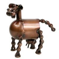 Model cow, recycled bike chain