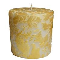 Candle damask leaf gold + white, 7.5cm flat
