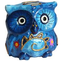 Set of 5 colourful wooden owls