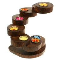 Teak root recycled t-lite holder 8 tier