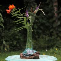 Shaped vase on wood, recycled glass 22-25cm ht