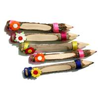 Twig pencils with flower. pack of 5, 13cm