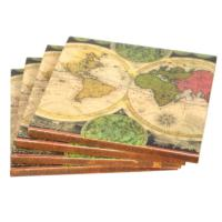 Set of 4 coasters, antique map