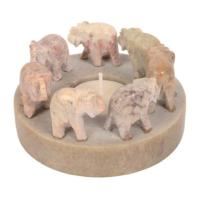 Stone tealight holder elephant circle brown