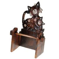Wooden toilet roll holder, cat & kitten