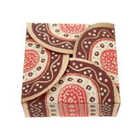 Gift box, red brown cream, 7.5x7.5x3cm