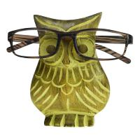 Spectacle stand, mango wood, owl green