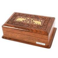 Wooden secret lock box with 2 brass elephants