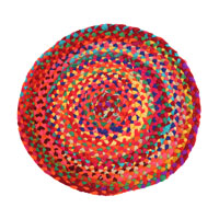 Rag rug, round recycled polyester, 50cm diameter