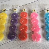 Pack of 4 flower candles, 6 asst colours