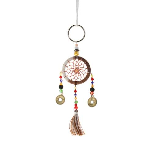 Dreamcatcher keyring brown + white
