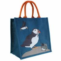 Jute shopping bag, puffins