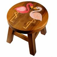 Child's wooden stool, flamingos