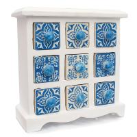 Wooden mini chest blue & white, 9 ceramic drawers
