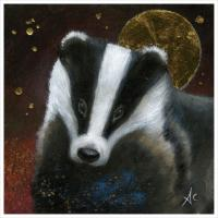 "Greetings card ""The Badger"" 16x16cm"