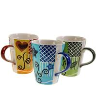 Mug, assorted colours & designs height 11.5cm