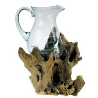 Shaped jug on wood, recycled glass 32-35cm ht
