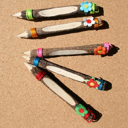 Twig pencils with flower. pack of 5, 18cm