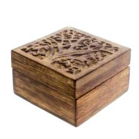 Trinket box, mango wood, tree design 10x10x6cm