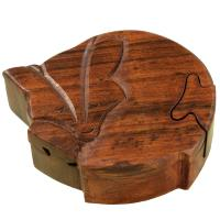 Fox shaped puzzle box, sheesham wood