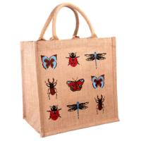 Jute shopping bag, square, insects