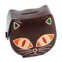 Leather money box cat