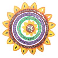 Mobile rainbow, yellow sunflower, mirrored tiles, 27cm