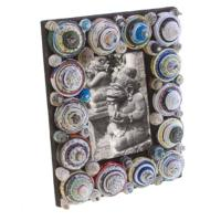 Photo frame, coiled circles of recycled paper, up to 5x3.5inch photo