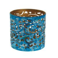 T-lite holder, metal die cut, blue swirl, 9cm height
